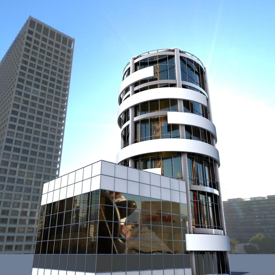 ラウンドビルフラット高層ビル建築 royalty-free 3d model - Preview no. 3