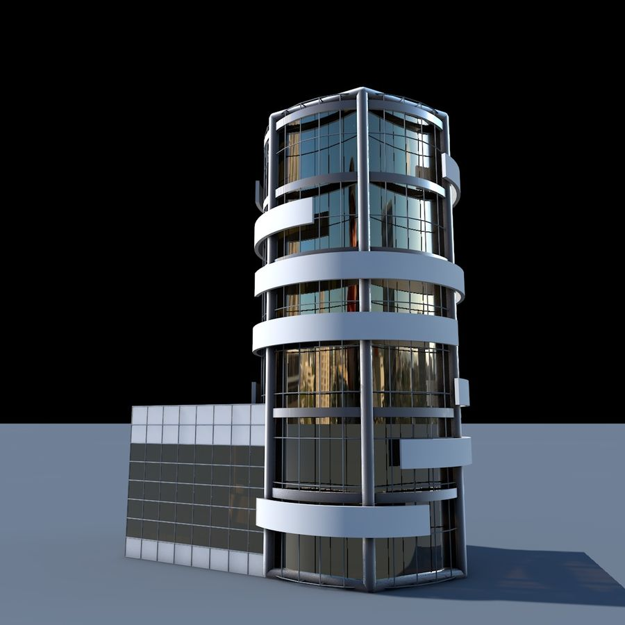 Round building flat skyscraper architecture royalty-free 3d model - Preview no. 1
