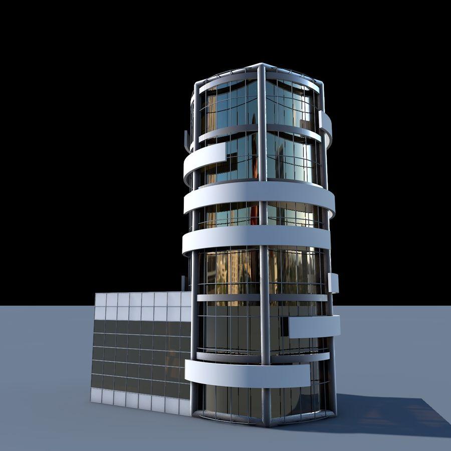 Круглое здание с плоской небоскребной архитектурой royalty-free 3d model - Preview no. 1
