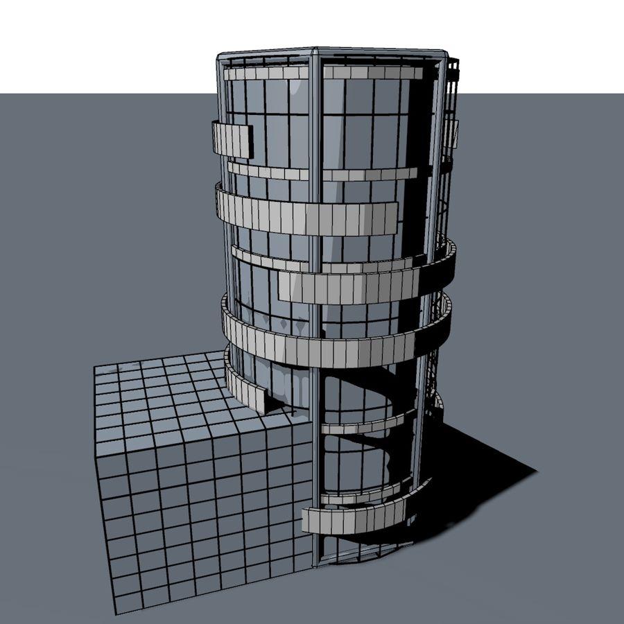 Круглое здание с плоской небоскребной архитектурой royalty-free 3d model - Preview no. 4