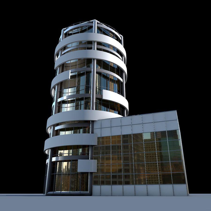 ラウンドビルフラット高層ビル建築 royalty-free 3d model - Preview no. 6