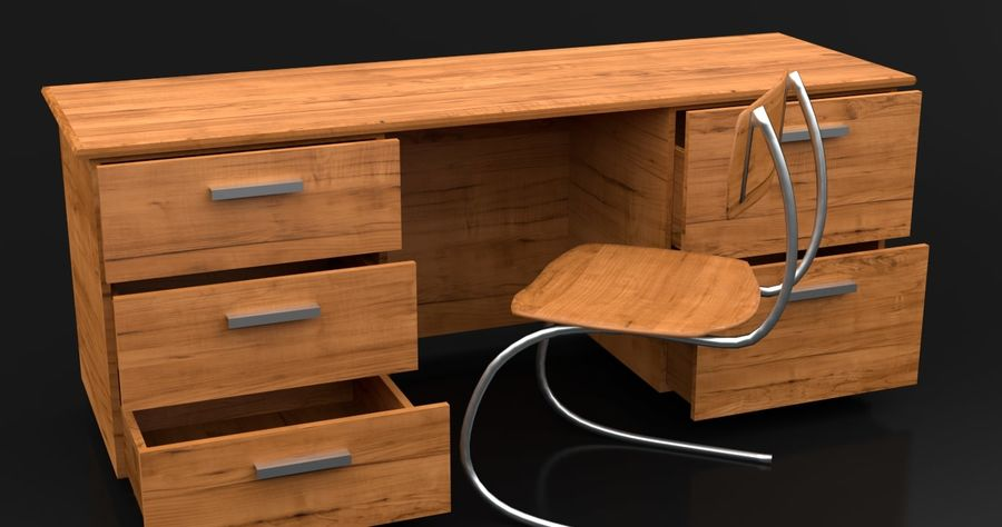 Scrivania moderna in legno royalty-free 3d model - Preview no. 1