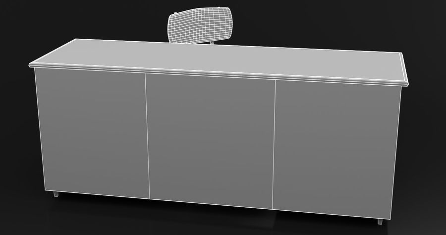 Bureau moderne en bois royalty-free 3d model - Preview no. 5