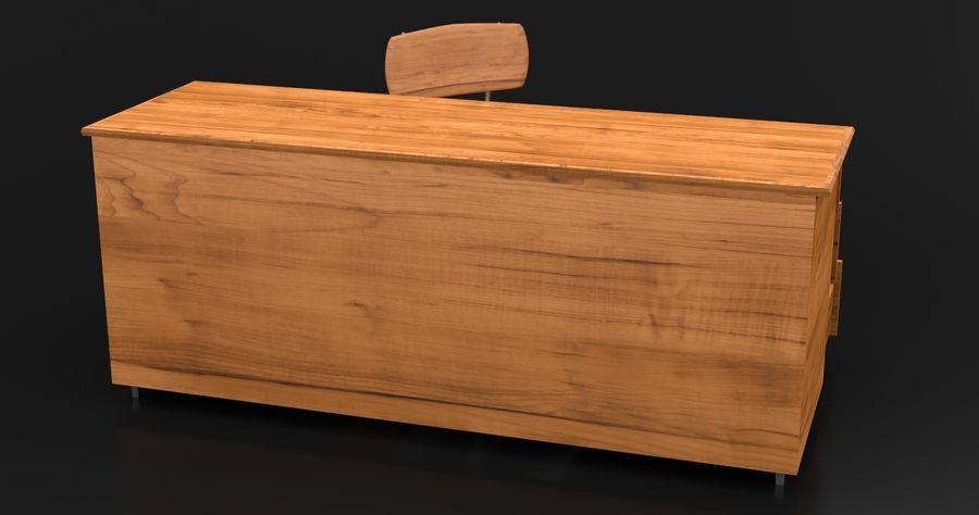 Modern Wooden Desk royalty-free 3d model - Preview no. 4