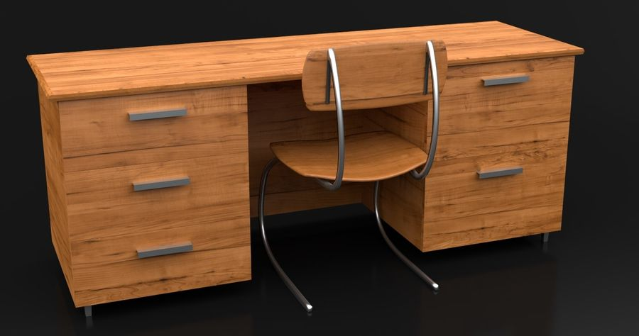 Bureau moderne en bois royalty-free 3d model - Preview no. 2