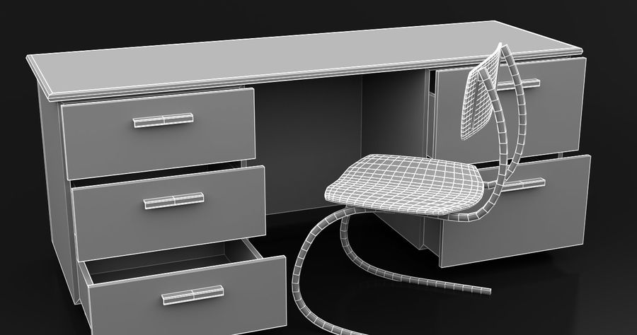 Bureau moderne en bois royalty-free 3d model - Preview no. 3