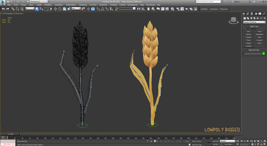 Barley cartoon (stages of grow) royalty-free 3d model - Preview no. 12