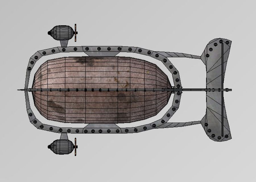 Dirigeable steampunk royalty-free 3d model - Preview no. 10