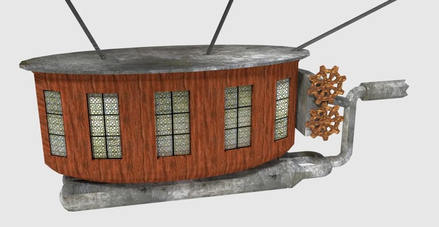 Dirigeable steampunk royalty-free 3d model - Preview no. 6