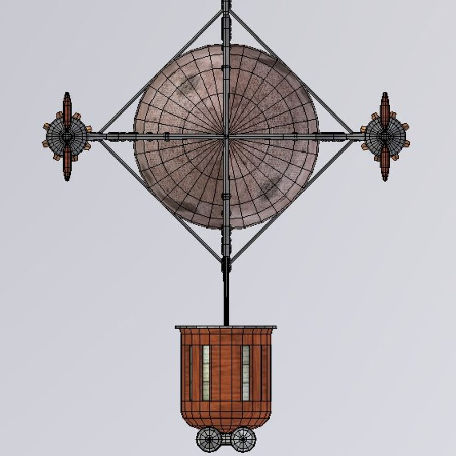 Dirigeable steampunk royalty-free 3d model - Preview no. 9