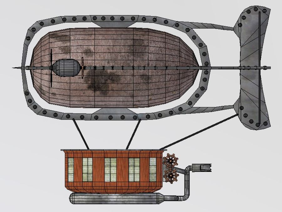 Dirigeable steampunk royalty-free 3d model - Preview no. 8