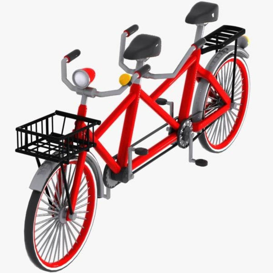 Cartoon Tandem Bicycle royalty-free 3d model - Preview no. 5