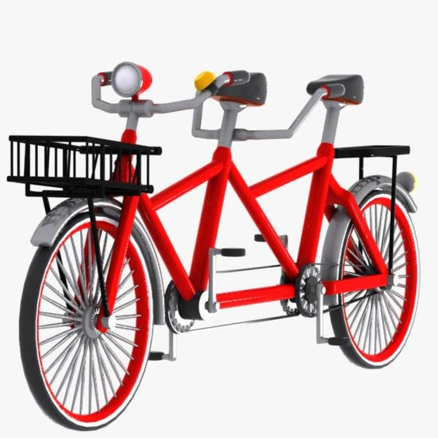 Cartoon Tandem Bicycle royalty-free 3d model - Preview no. 4