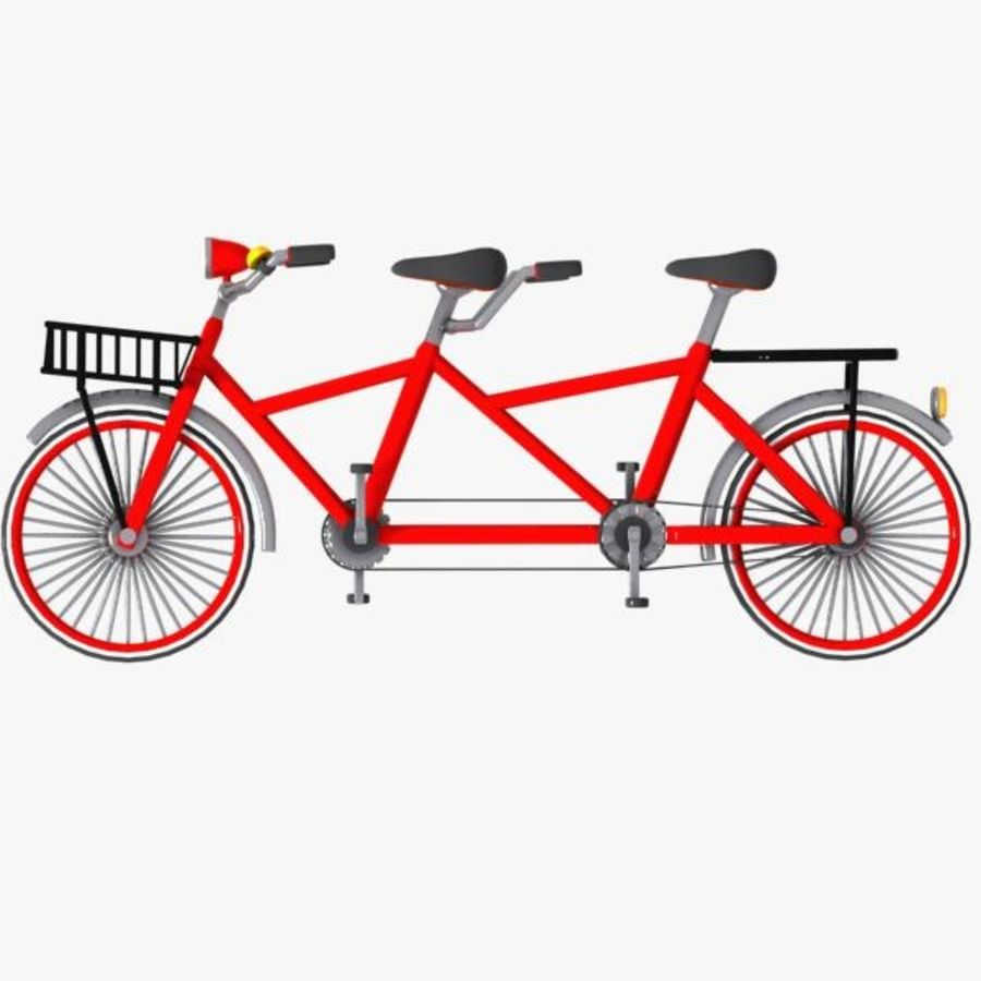 Cartoon Tandem Bicycle royalty-free 3d model - Preview no. 7