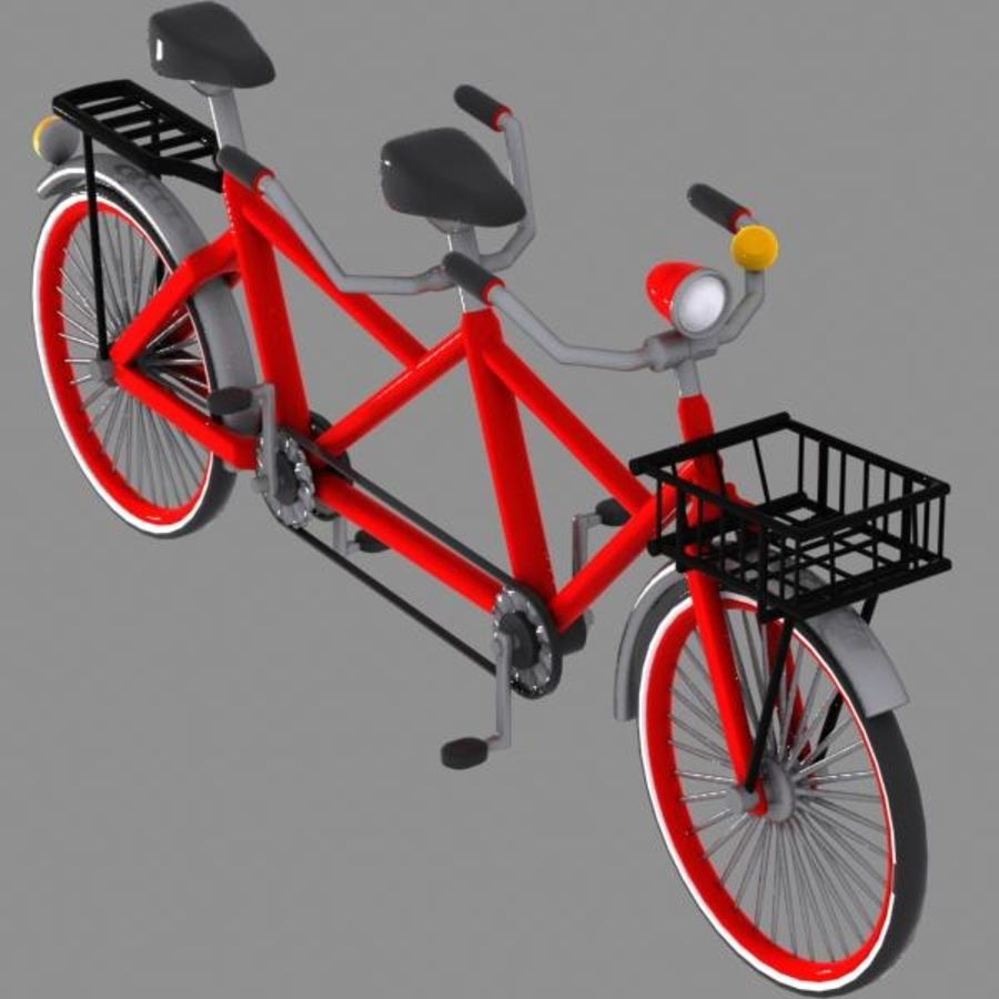 Cartoon Tandem Bicycle royalty-free 3d model - Preview no. 2