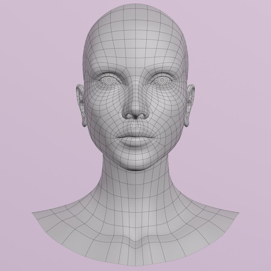 Female Head royalty-free 3d model - Preview no. 9
