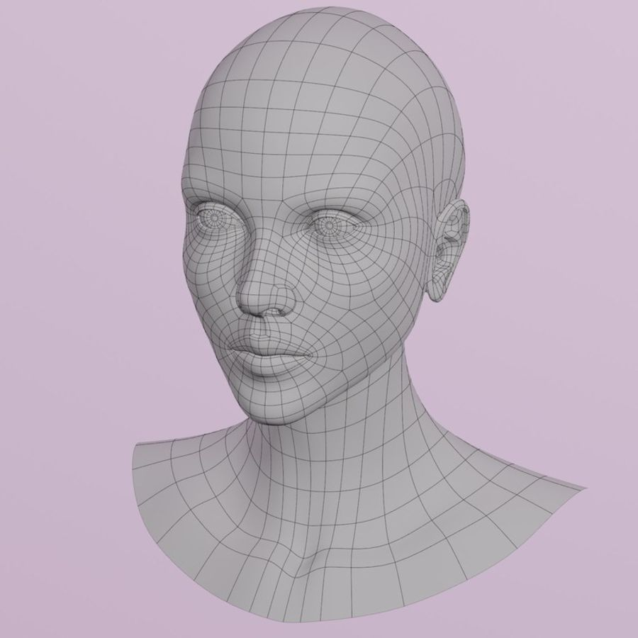 Female Head royalty-free 3d model - Preview no. 8