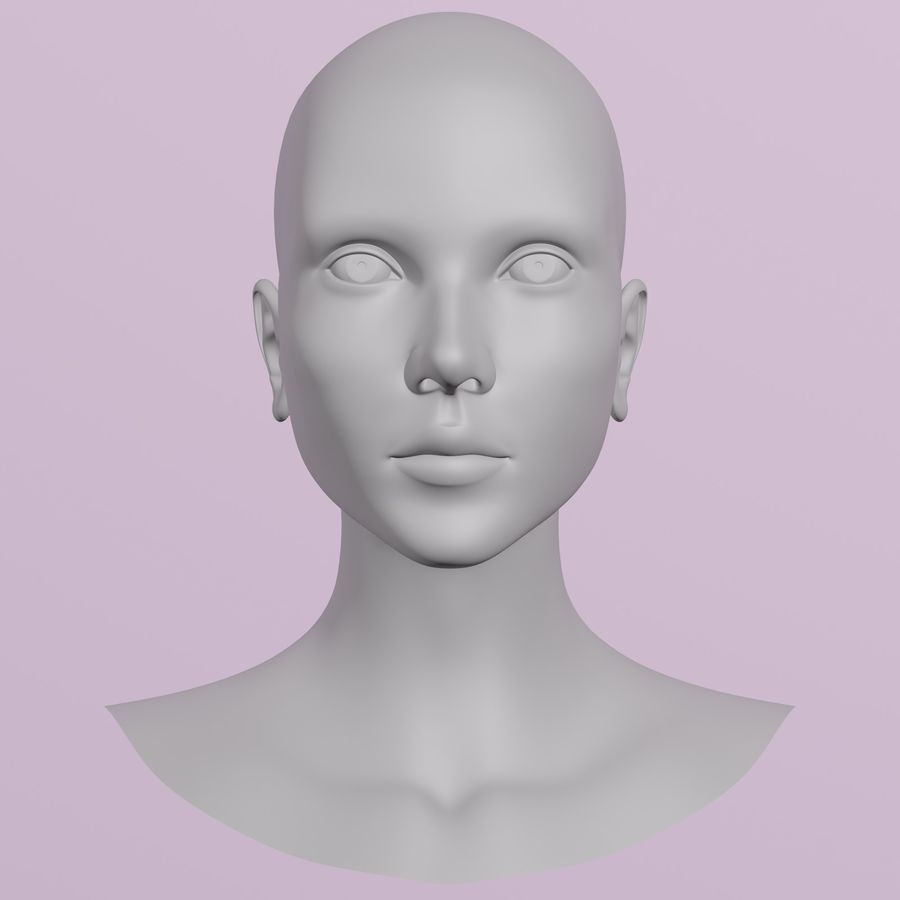 Female Head royalty-free 3d model - Preview no. 5