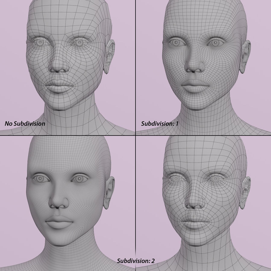 Female Head royalty-free 3d model - Preview no. 11