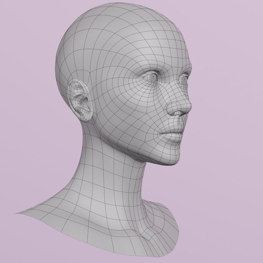 Female Head royalty-free 3d model - Preview no. 10