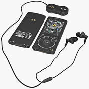 MP3 Player Sony NWZS764BLK Black Set 3d model