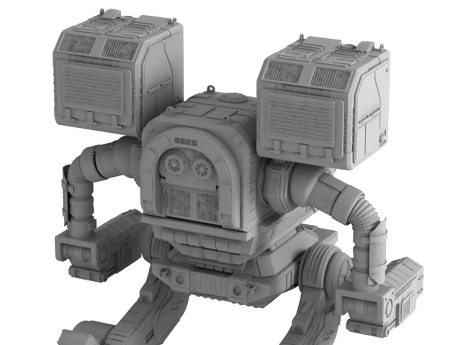 Army Mech Warrior Robot V3 royalty-free 3d model - Preview no. 11