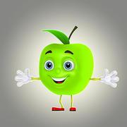 pomme de dessin 3d model