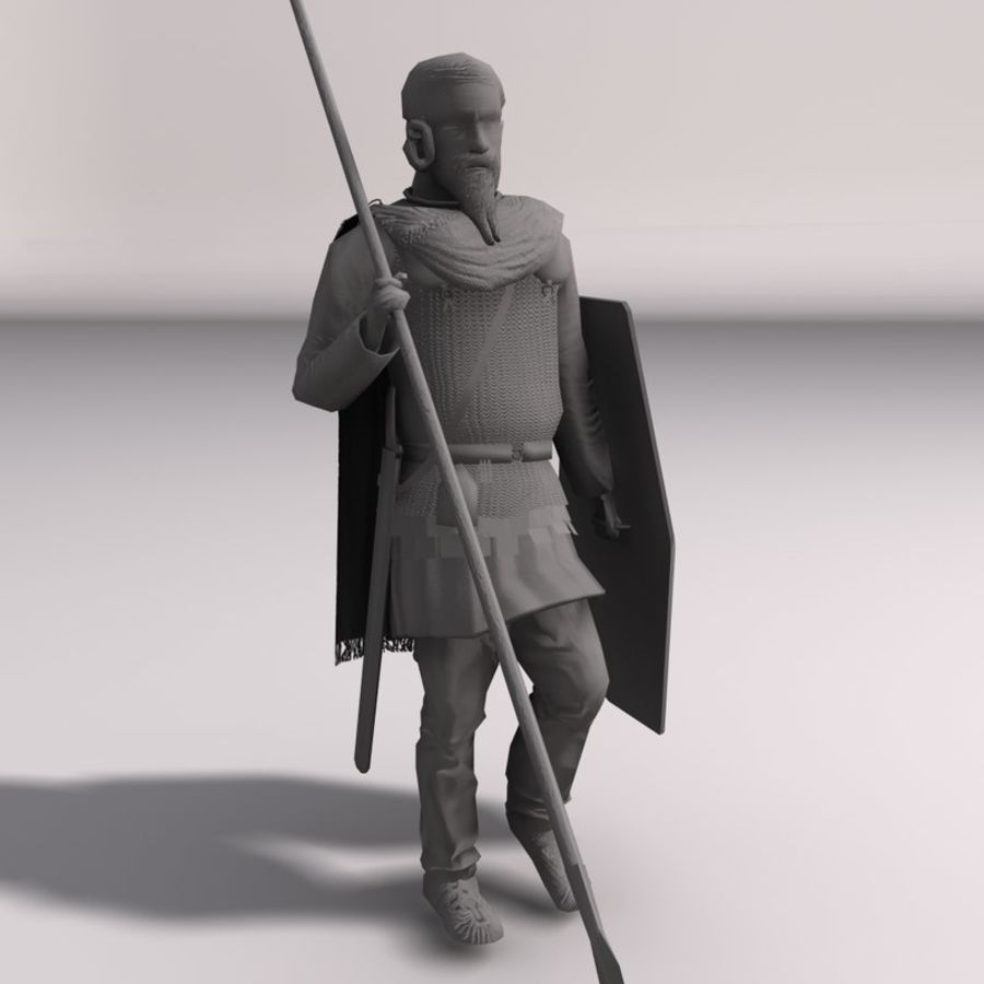 Low-poly Elite Spearman royalty-free 3d model - Preview no. 8