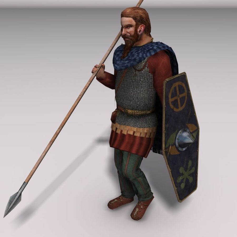 Low-poly Elite Spearman royalty-free 3d model - Preview no. 2