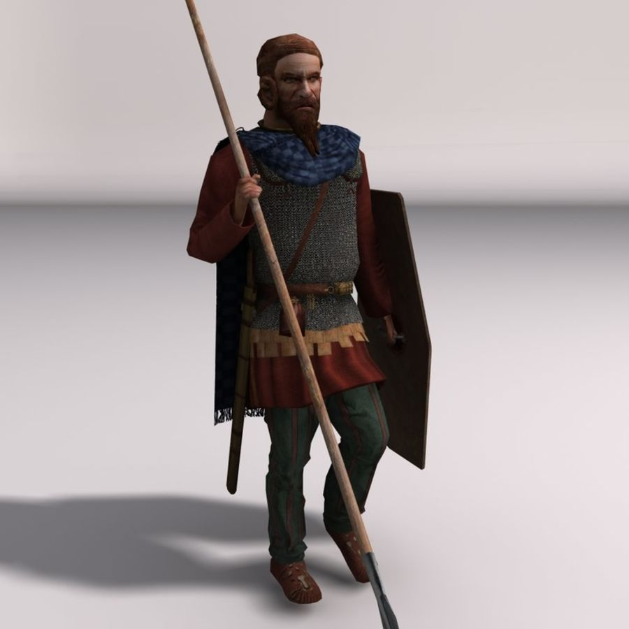 Low-poly Elite Spearman royalty-free 3d model - Preview no. 1