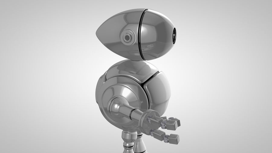 Cartoon Robot royalty-free 3d model - Preview no. 4