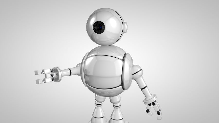 Cartoon Robot royalty-free 3d model - Preview no. 7