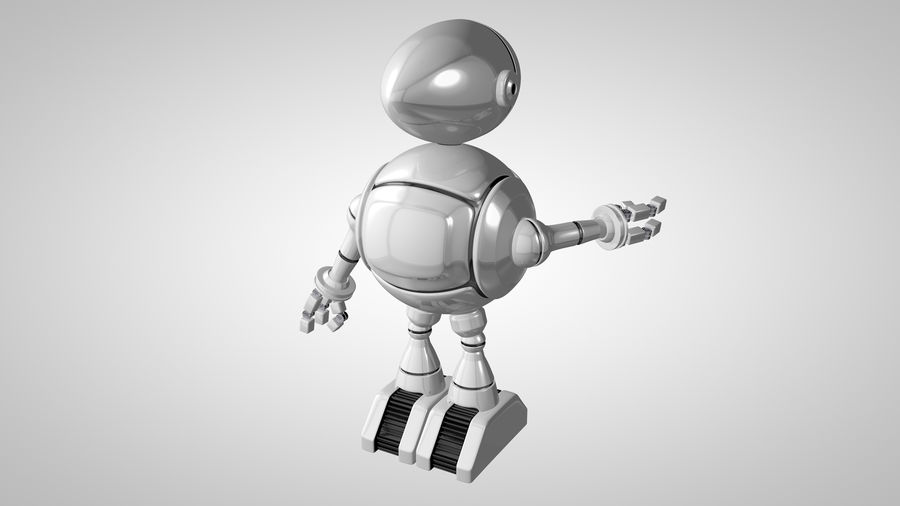 Cartoon Robot royalty-free 3d model - Preview no. 8