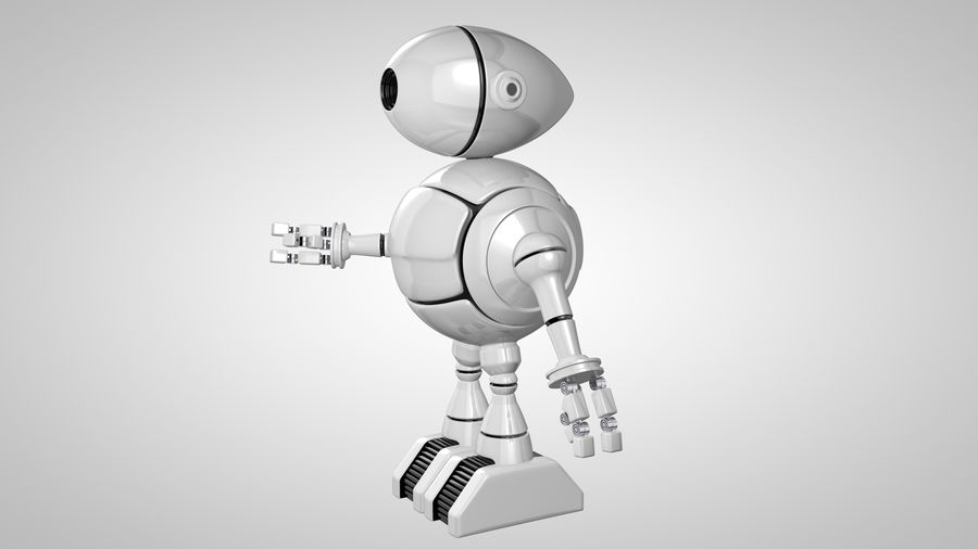 Cartoon Robot royalty-free 3d model - Preview no. 6