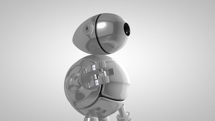 Cartoon Robot royalty-free 3d model - Preview no. 3