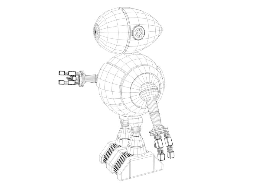 Cartoon Robot royalty-free 3d model - Preview no. 11