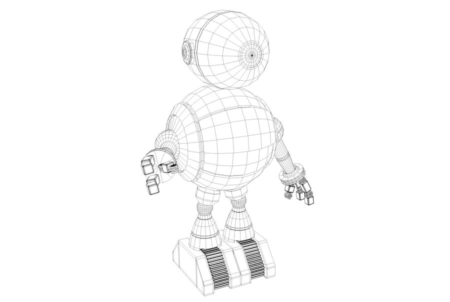 Cartoon Robot royalty-free 3d model - Preview no. 10