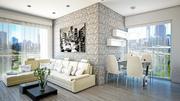 Minimalistische woonkamer met keuken 3d model