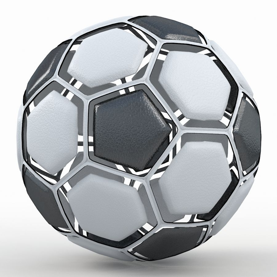 Soccerball dissasembled royalty-free 3d model - Preview no. 6