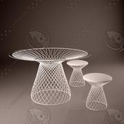 Il tavolo e gli sgabelli 3d model