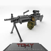 Легкий пулемет M249 3d model