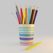 renkli kalemler 3d model