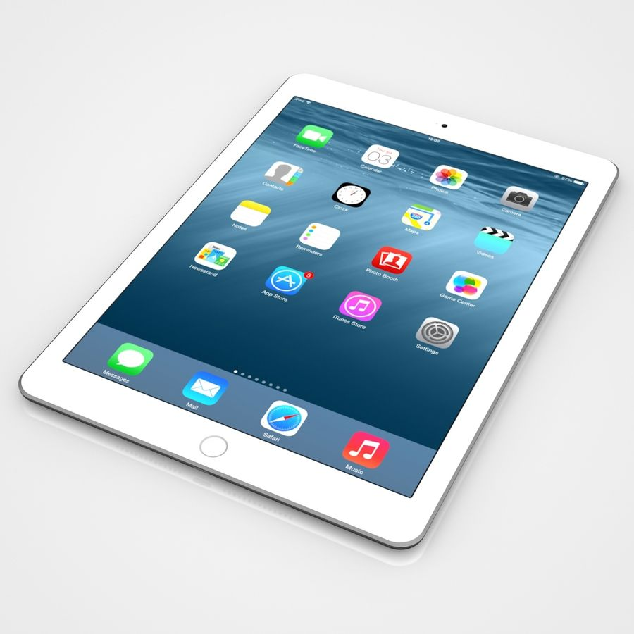 Apple iPad Air 2 Weiß (Silber) royalty-free 3d model - Preview no. 5