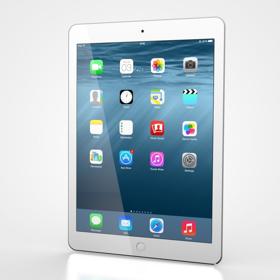 Apple iPad Air 2 Weiß (Silber) royalty-free 3d model - Preview no. 2