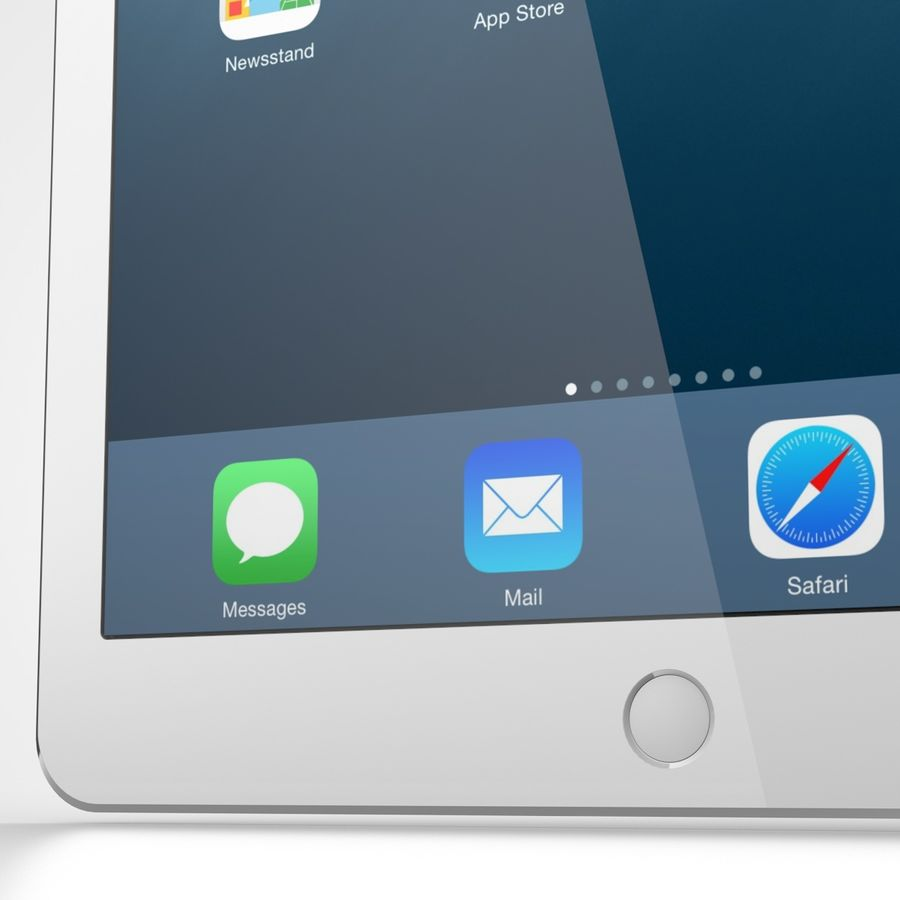 Apple iPad Air 2 Weiß (Silber) royalty-free 3d model - Preview no. 6