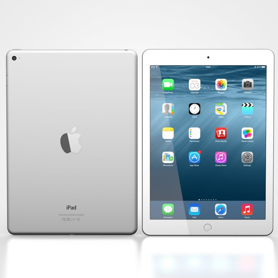Apple iPad Air 2 Weiß (Silber) royalty-free 3d model - Preview no. 1
