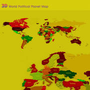 3D-världspolitisk karta över världen 3d model