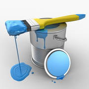 Paint Can and Brush 3d model