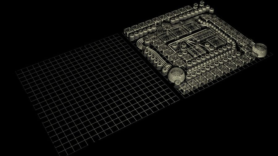 Panel with parts - engine machinery royalty-free 3d model - Preview no. 8