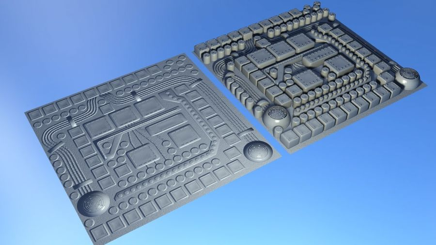 Panel with parts - engine machinery royalty-free 3d model - Preview no. 7